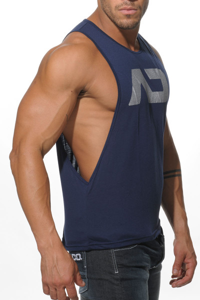 09 Navy - Addicted AD Low Rider Tank Top AD043 - Side View - Topdrawers Menswear