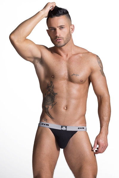 "GYM Swim/Run Jockstrap w/ 1"" Waistband GYM001- Black - Mens Jockstraps - Front View - Topdrawers Underwear for Men"