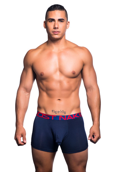 Navy Blue - Andrew Christian Almost Naked Tagless Premium Boxer 90439 - Front View- Topdrawers Underwear for Men