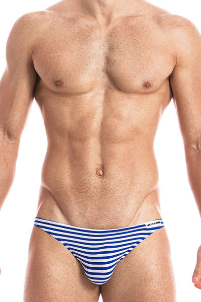 Blue - Modus Vivendi Marine Low Cut Brief 10812 - Front View - Topdrawers Underwear for Men