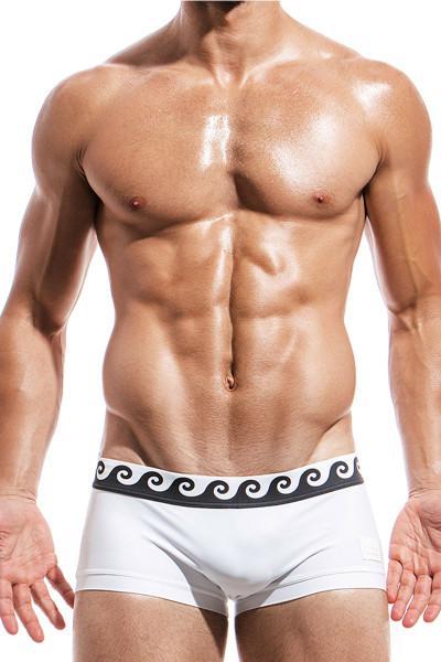 White - Modus Vivendi Iconic Brazil Cut Swim Boxer FS1821 - Front View - Topdrawers Swimwear for Men