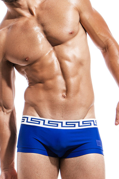 Blue - Modus Vivendi Meander Brazil Cut Swim Boxer DS1821 - Front View - Topdrawers Swimwear for Men