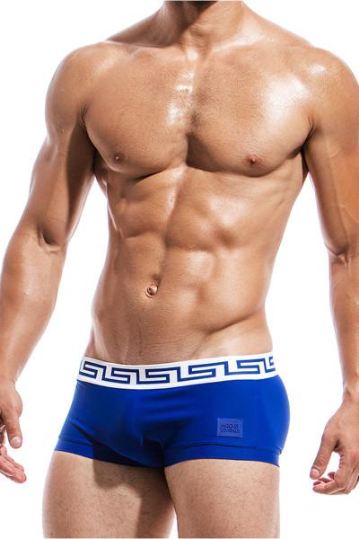 Blue - Modus Vivendi Meander Brazil Cut Swim Boxer DS1821 - Side View - Topdrawers Swimwear for Men