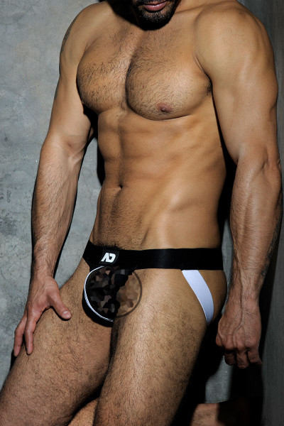 01 White - Addicted Fetish Mesh Jockstrap ADF05 - Censored Side View - Topdrawers Underwear for Men
