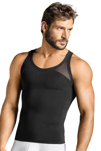 700 Black - Leo Seamless Control Tank 035010 - Front View - Topdrawers Underwear for Men