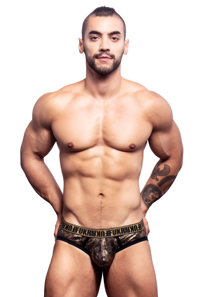 Andrew Christian FUKR Python Brief w/ Gigolo Mesh 90744 - Front View - Topdrawers Underwear for Men