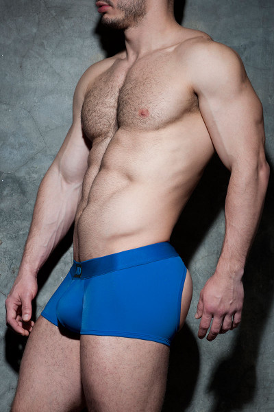 16 Royal Blue - Addicted Fetish Bottomless Fetish Boxer ADF93 - Side View - Topdrawers Underwear for Men