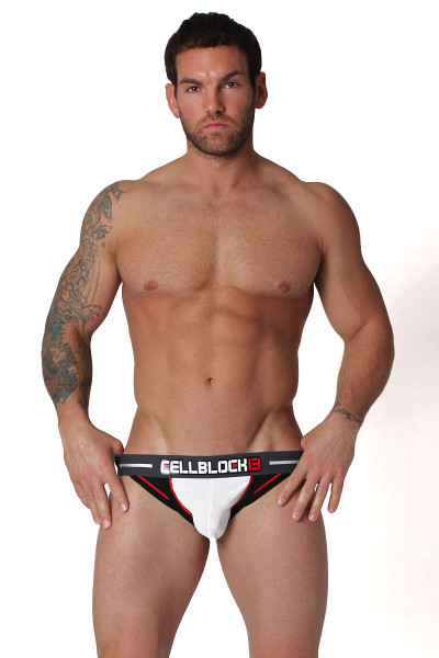 White - CellBlock 13 Hydro Jockstrap CBU125 - Front View - Topdrawers Underwear for Men