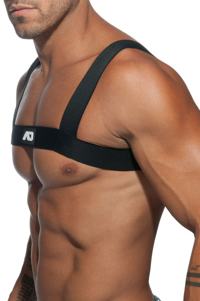 10 Black - Addicted Basic Elastic Harness ADF104 - Side View - Topdrawers Underwear for Men
