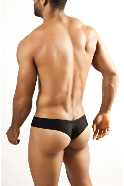 Black - Joe Snyder Mini Cheek Thong JS22 - Rear View - Topdrawers Underwear for Men