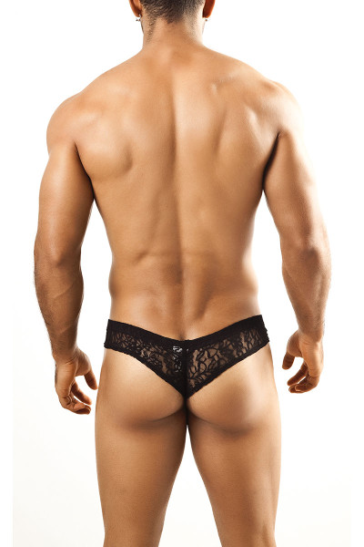 Black Lace - Joe Snyder Mini Cheek Thong JS22 - Rear View - Topdrawers Underwear for Men