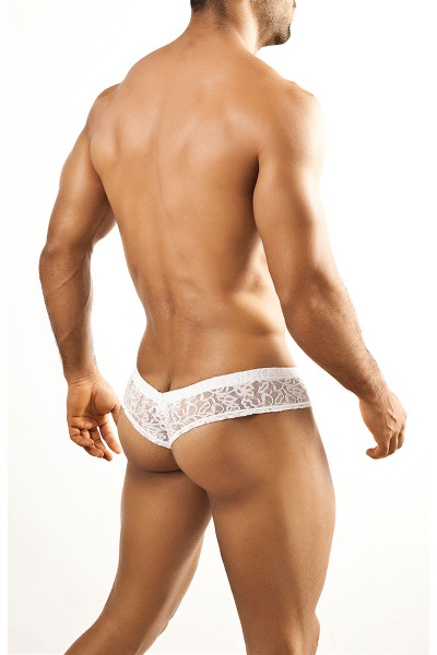 White Lace - Joe Snyder Mini Cheek Thong JS22 - Rear View - Topdrawers Underwear for Men