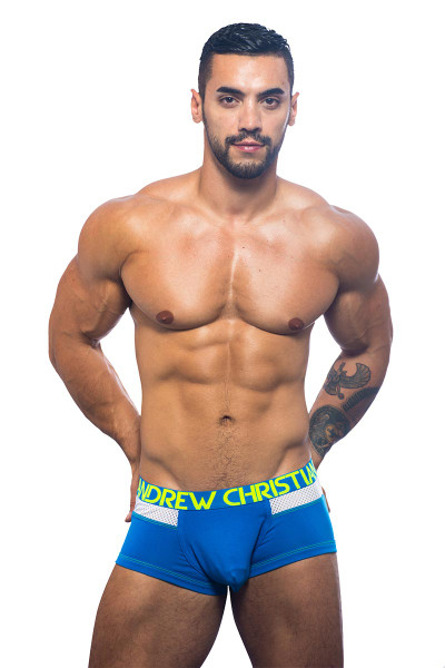 Andrew Christian Trophy Boy Active Mesh Boxer 90916-EBU - Boxer Briefs -  Front View - Topdrawers Underwear for Men