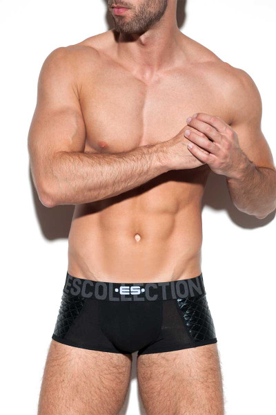 ES Collection Dystopia Push Up Boxer UN278-10 Black - Mens Trunks -  Front View - Topdrawers Underwear for Men