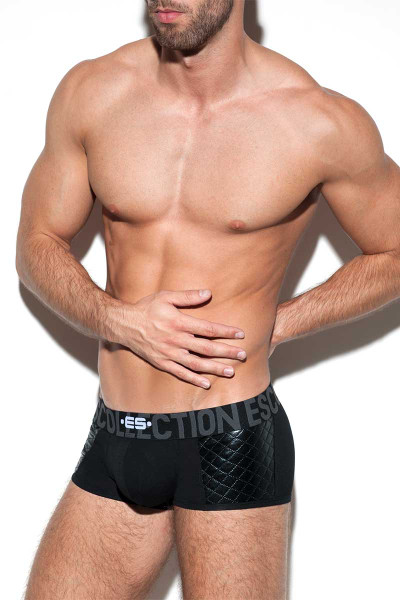 ES Collection Dystopia Push Up Boxer UN278-10 Black - Mens Trunks -  Side View - Topdrawers Underwear for Men