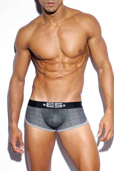 ES Collection Bisanzio Combi Push Up Boxer UN211-11 Charcoal Grey - Mens Trunks -  Front View - Topdrawers Underwear for Men