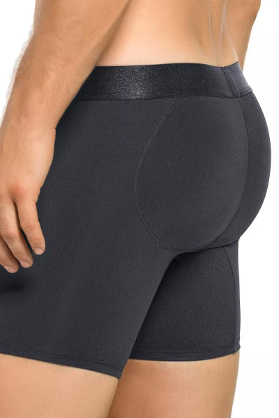 Leo Padded Butt Enhancer Boxer Brief 033280 - Black - Mens Boxer Brief Shapewear - Rear View - Topdrawers Underwear for Men