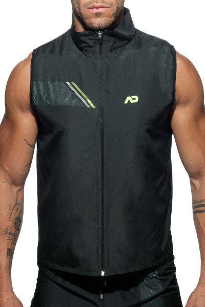 Addicted Fast Dry Sleeveless Jacket AD629-10 Black - Mens Athletic Tops - Front View - Topdrawers Clothing for Men