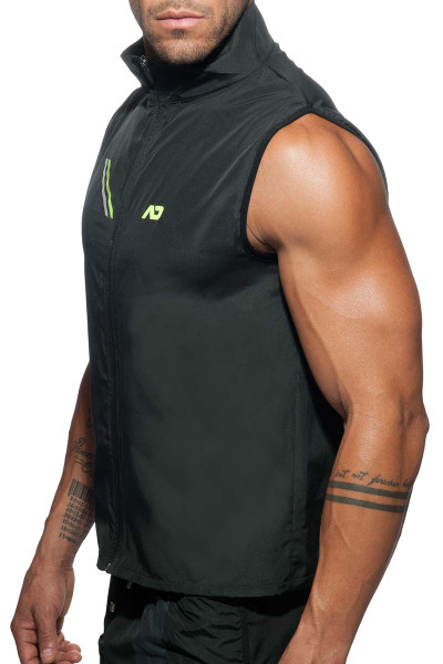 Addicted Fast Dry Sleeveless Jacket AD629-10 Black - Mens Athletic Tops - Side  View - Topdrawers Clothing for Men