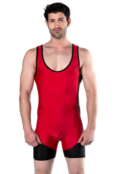 Go Softwear AJ Team Wrestler 8798 - Red/Black - Mens Wrestler Singlets - Front View - Topdrawers Underwear for Men