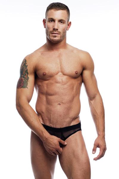 Go Softwear Euro Mesh Bikini 3721 - Black - Mens Sheer Bikini Briefs - Front View - Topdrawers Underwear for Men