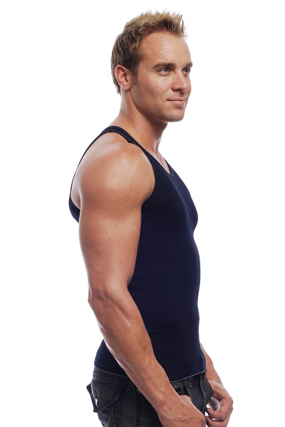 Go Softwear Rib Tank 4615 - Navy Blue - Mens Tank Tops - Side View - Topdrawers Clothing for Men