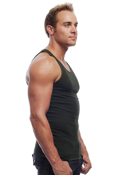 Go Softwear Rib Tank 4615 - Olive Green - Mens Tank Tops - Side View - Topdrawers Clothing for Men