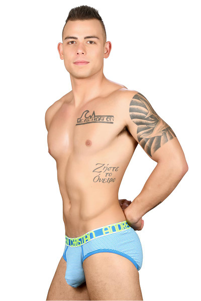 Andrew Christian Almost Naked Shore Stripe Brief 90982 - Mens Briefs - Side View - Topdrawers Underwear for Men