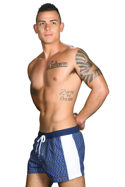 Andrew Christian Black Collection Madison Swim Shorts w/ Gold Charm 7710 - Mens Board Shorts - Side View - Topdrawers Swimwear for Men