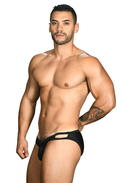 Andrew Christian Wild Thing Swim Bikini 7713 - Black - Mens Swim Bikini Briefs - Side View - Topdrawers Swimwear for Men