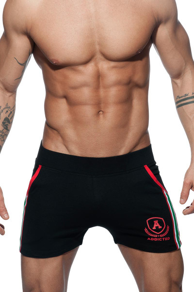 Addicted Short Tight Pant Intercotton AD337 - 10 Black - Mens Athletic Shorts - Front View - Topdrawers Clothing for Men