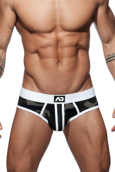 Addicted Camo Stripe Brief AD764 - 01 White - Mens Briefs - Front View - Topdrawers Underwear for Men