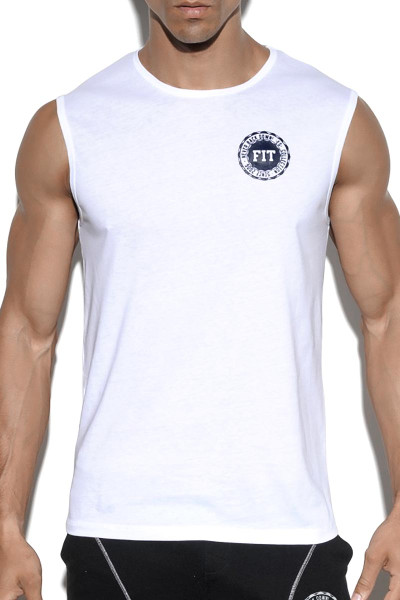 ES Collection Fit Tank Top TS204 - 01 White - Mens Sleeveless Muscle Shirt T-Shirts - Front View - Topdrawers Clothing for Men