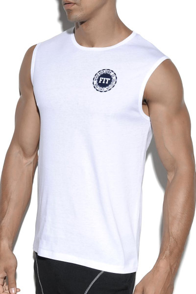 ES Collection Fit Tank Top TS204 - 01 White - Mens Sleeveless Muscle Shirt T-Shirts - Side View - Topdrawers Clothing for Men