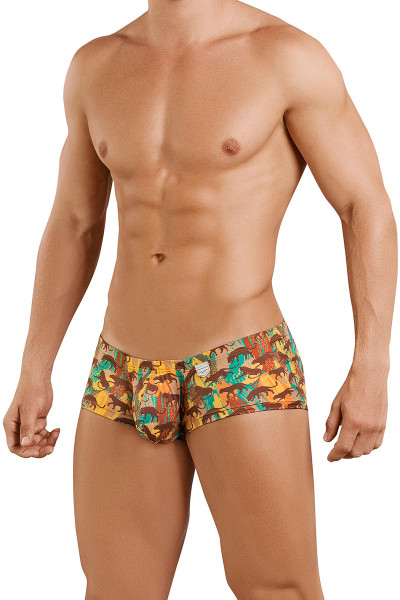 Clever Echo Latin Boxer 2392 - 15 Brown - Mens Trunk Boxer Briefs - Front View - Topdrawers Underwear for Men