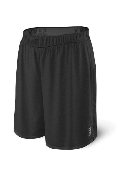 Saxx Pilot 2N1 Short SXRU28 - BLH Black Heather - Mens Athletic Shorts - Front View - Topdrawers Clothing for Men