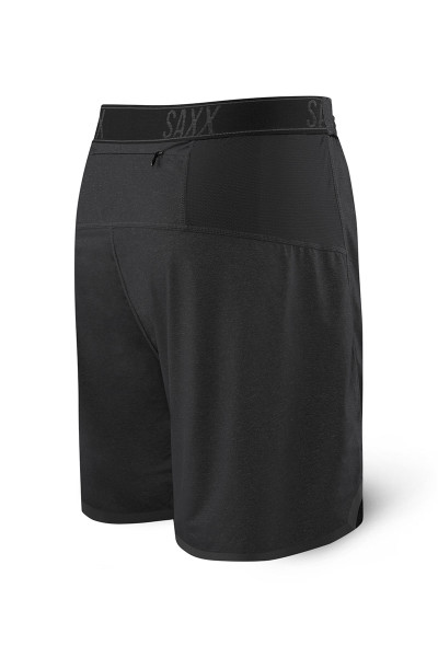Saxx Pilot 2N1 Short SXRU28 - BLH Black Heather - Mens Athletic Shorts - Rear  View - Topdrawers Clothing for Men