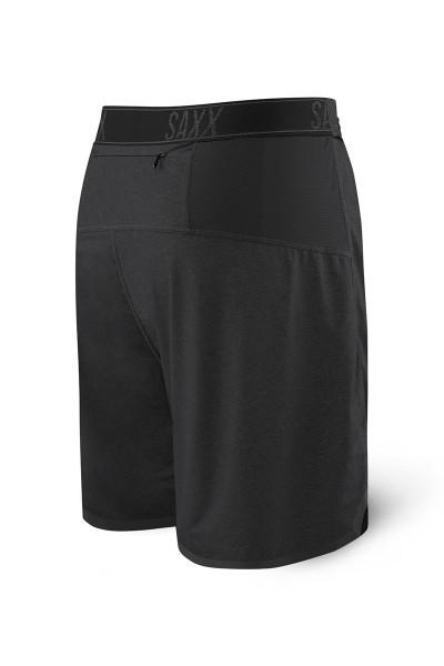 Saxx Pilot 2N1 Short SXRU28 - BLH Black Heather - Mens Athletic Shorts - Rear  View - Topdrawers Clothing for Men