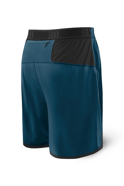 Saxx Pilot 2N1 Short SXRU28 - BSH Velvet Blue Heather - Mens Athletic Shorts - Rear View - Topdrawers Clothing for Men