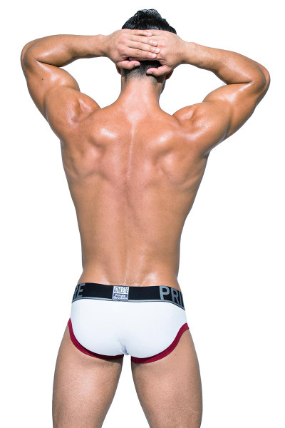 Private Structure BeFit Athlete Mini Brief BATMU1915BT - WH White - Mens Sport Briefs - Rear View - Topdrawers Underwear for Men