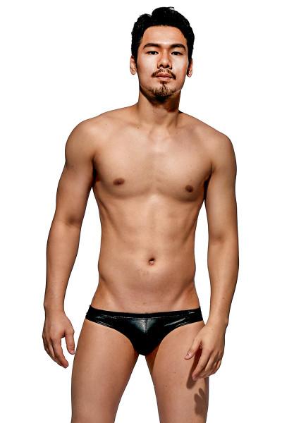 Private Structure Desire Glaze Bikini DGEMU3553BT - LTB Leather Black - Mens Bikini Briefs - Front View - Topdrawers Underwear for Men