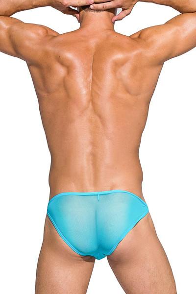 Private Structure Desire Intima Mesh Low Rise Bikini DIAMU3455BT - LBU Light Blue - Mens Bikini Briefs - Rear View - Topdrawers Underwear for Men