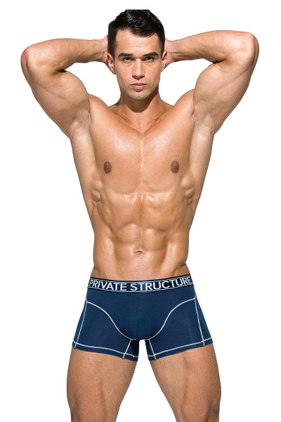 Private Structure Platinum Bamboo Trunk PBUZ3749 - MNB Midnight Blue - Mens Trunk Boxer Briefs - Front View - Topdrawers Underwear for Men
