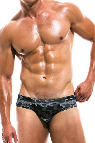 Modus Vivendi Camo Marine Swim Brief ES1912 - Khaki - Mens Swim Bikini Swimsuits - Front View - Topdrawers Swimwear for Men