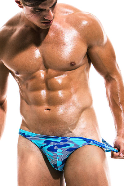 Modus Vivendi Camo Marine Low Cut Swim Brief ES1911 - Aqua - Mens Swim Bikini Swimsuits - Front View - Topdrawers Swimwear for Men