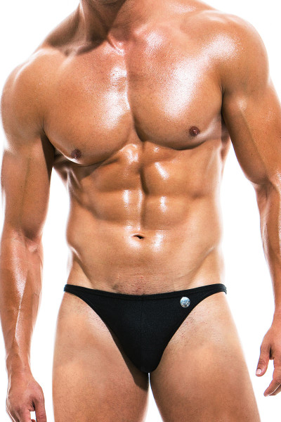 Modus Vivendi Bodybuilding Low Cut Swim Brief BS1911 - Black - Mens Swim Bikini Swimsuits - Front View - Topdrawers Swimwear for Men