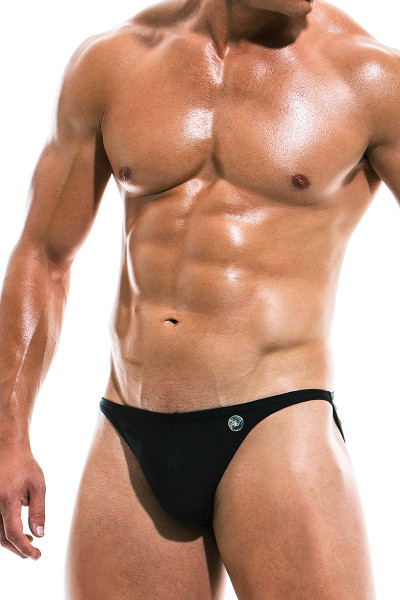 Modus Vivendi Bodybuilding Low Cut Swim Brief BS1911 - Black - Mens Swim Bikini Swimsuits - Side View - Topdrawers Swimwear for Men