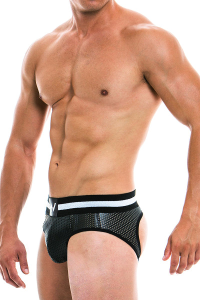 Modus Vivendi Vegan Bottomless Brief 03911 - Black - Mens Jock Briefs - Side View - Topdrawers Underwear for Men
