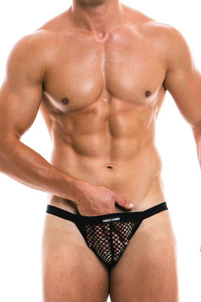 Modus Vivendi C-Through Tanga Brief 22813 - Black - Mens Briefs - Front View - Topdrawers Underwear for Men
