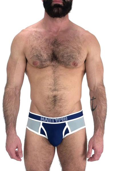 Nasty Pig Base Brief 5601 - Blue/Grey - Mens Briefs  - Front View - Topdrawers Underwear for Men